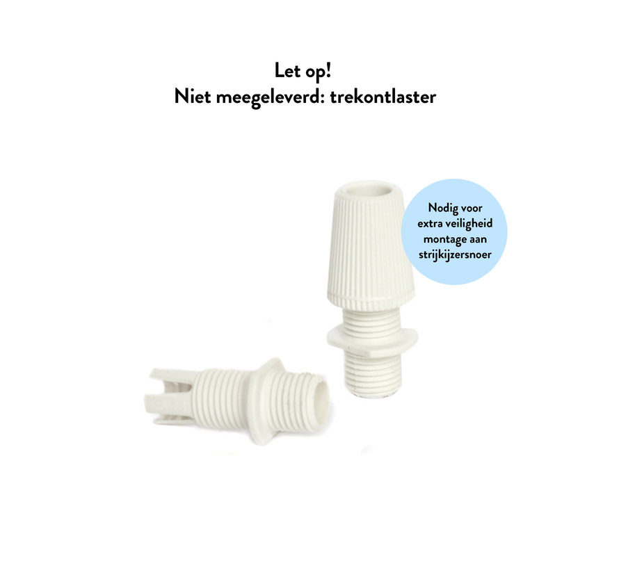 Plastic Lamp Holder with two screw rings and male thread - White (E27)