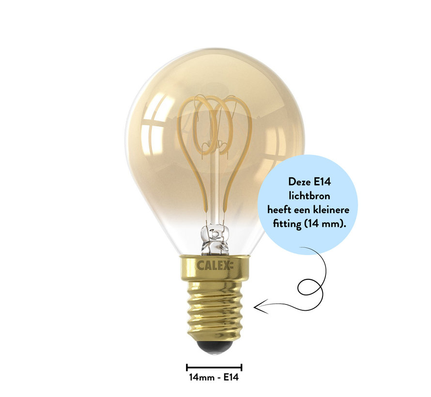 Gold Spherical LED lamp - 4W E14 - 2100K - Dimmable