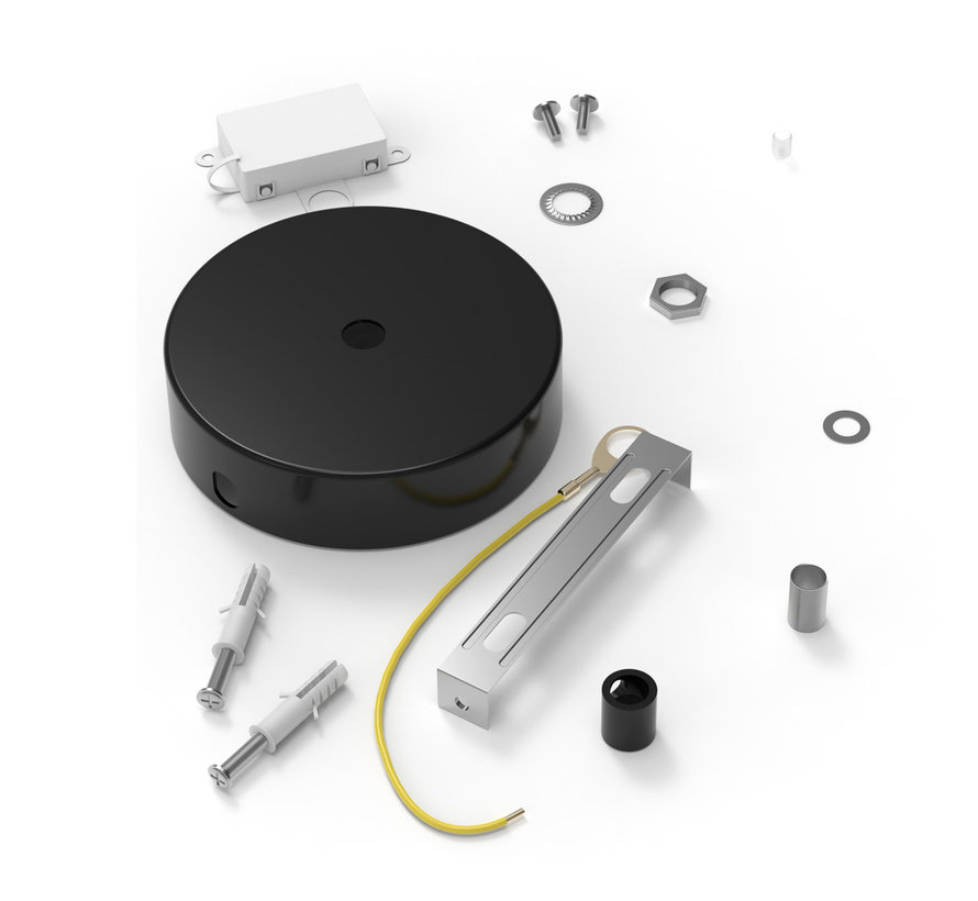Calex Plafondkap geschikt voor 1 snoer (1 gats) | Zwart