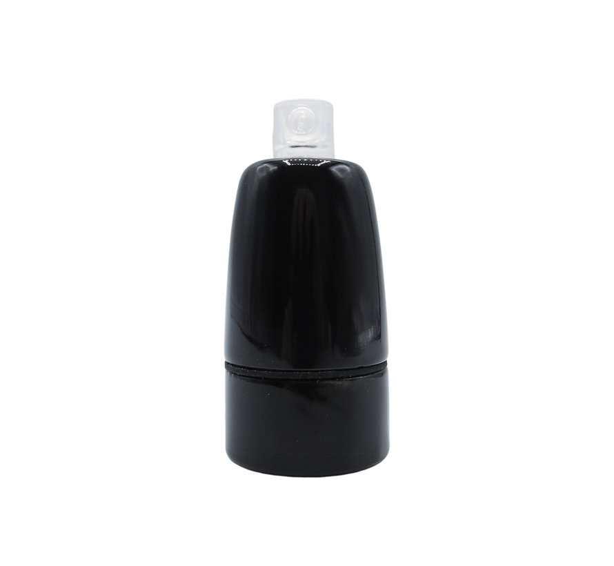 E14 Fitting 'Sif' porselein met rubberen ring   Zwart