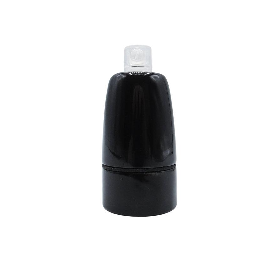 Porcelain Lamp Holder 'Loki' black E14