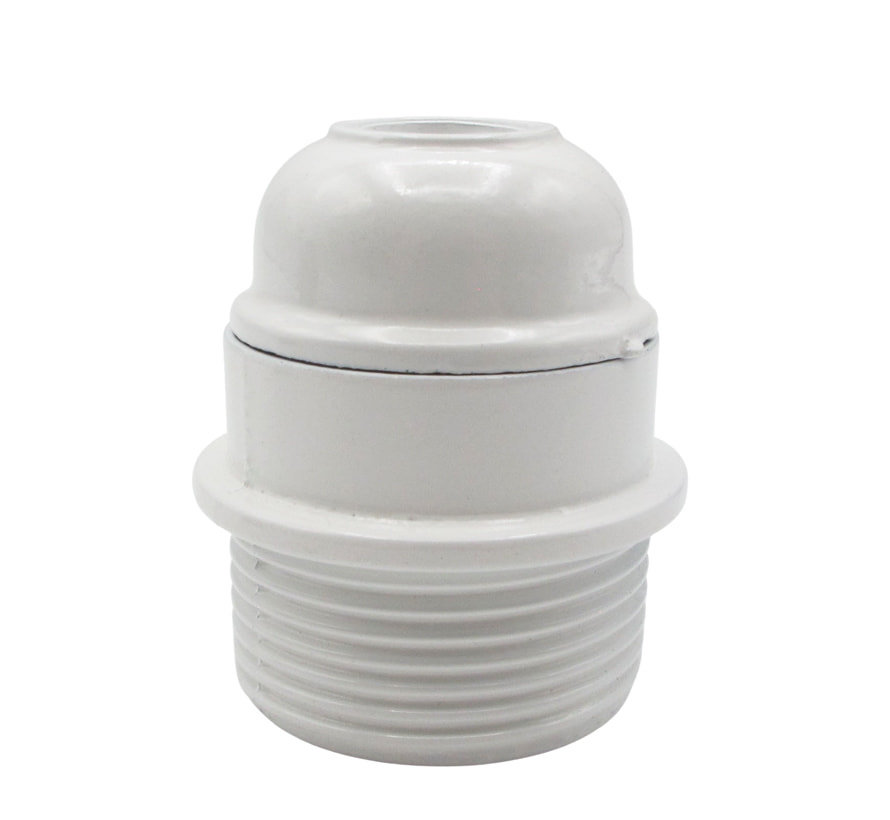 Bakelitfassung mit Flansch und Außengewinde (E27)   Weiß