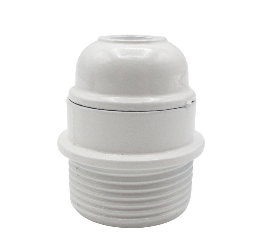 Kunststof fitting wit met buitenschroefdraad - bakeliet (look) met flens halfhoog - E27
