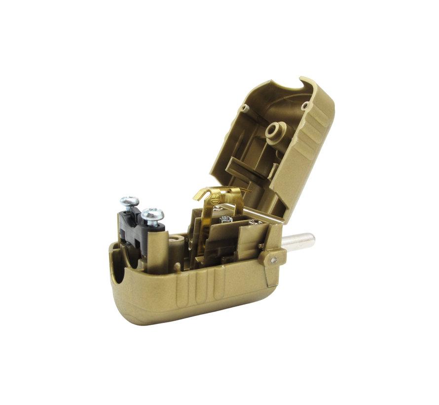 Plug plastic - round gold (grounded)