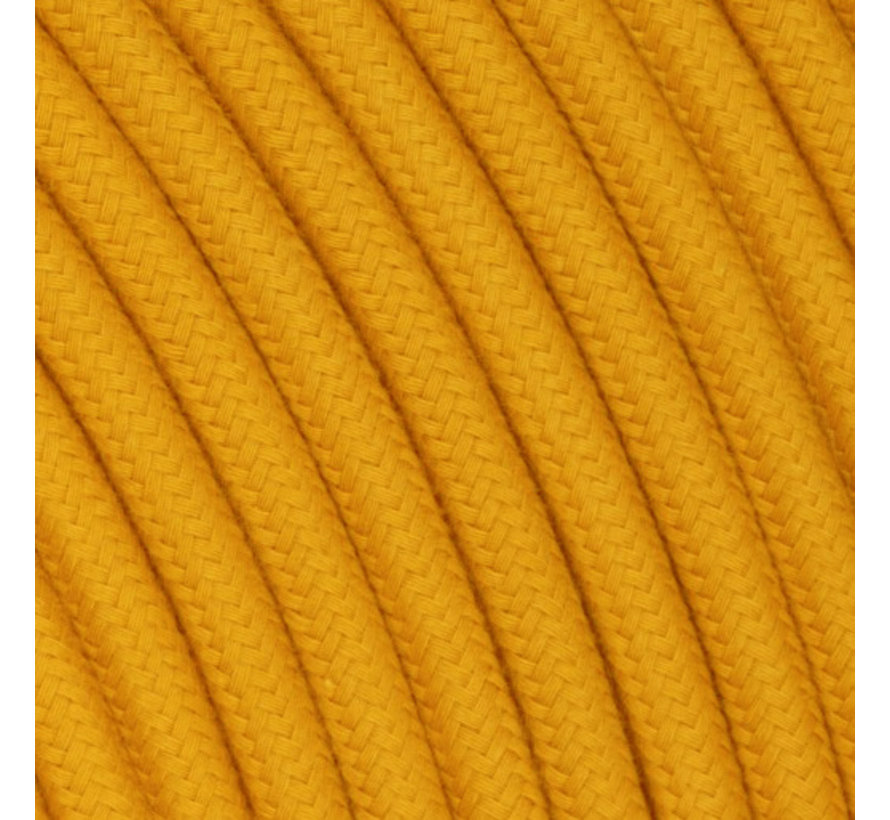 Textilkabel Ockergelb - rund, leinen