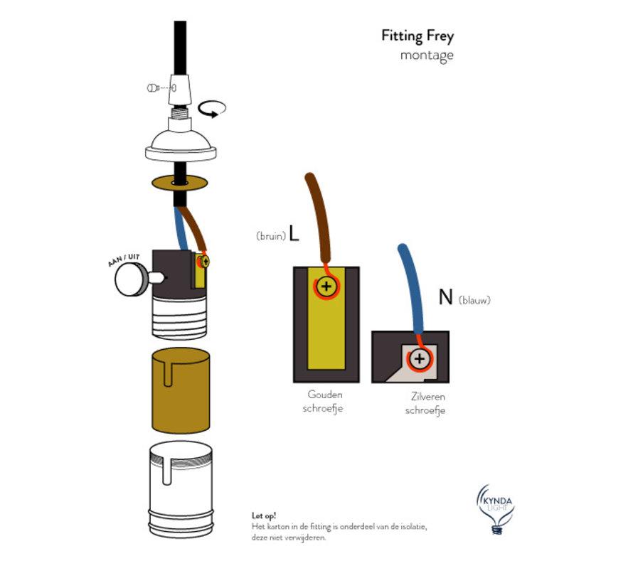 Fitting 'Frey' met schakelaar metaal Goud Brons E27