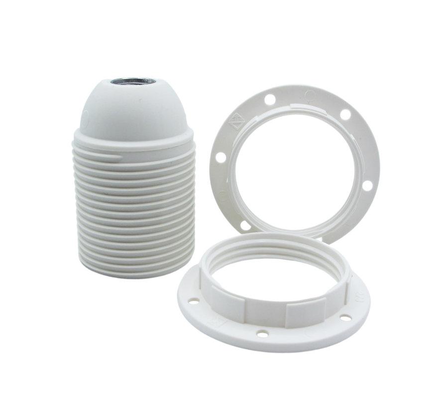 Kunststoff Fassung mit Außengewinde und 2 Stellringen Weiß - E27