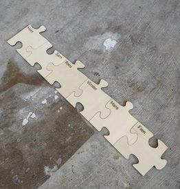 Puzzelstuk met naam groot 16cm