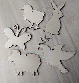 Houten hangers lentedieren 5 stuks