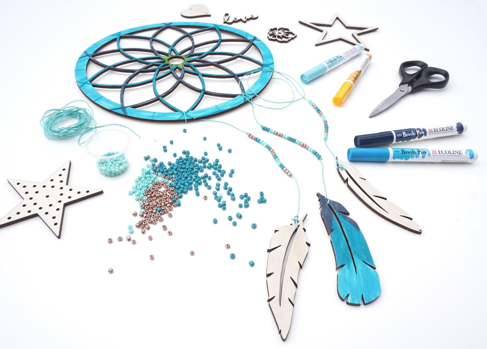 DIY Pakket dromenvanger maken mint/azuur