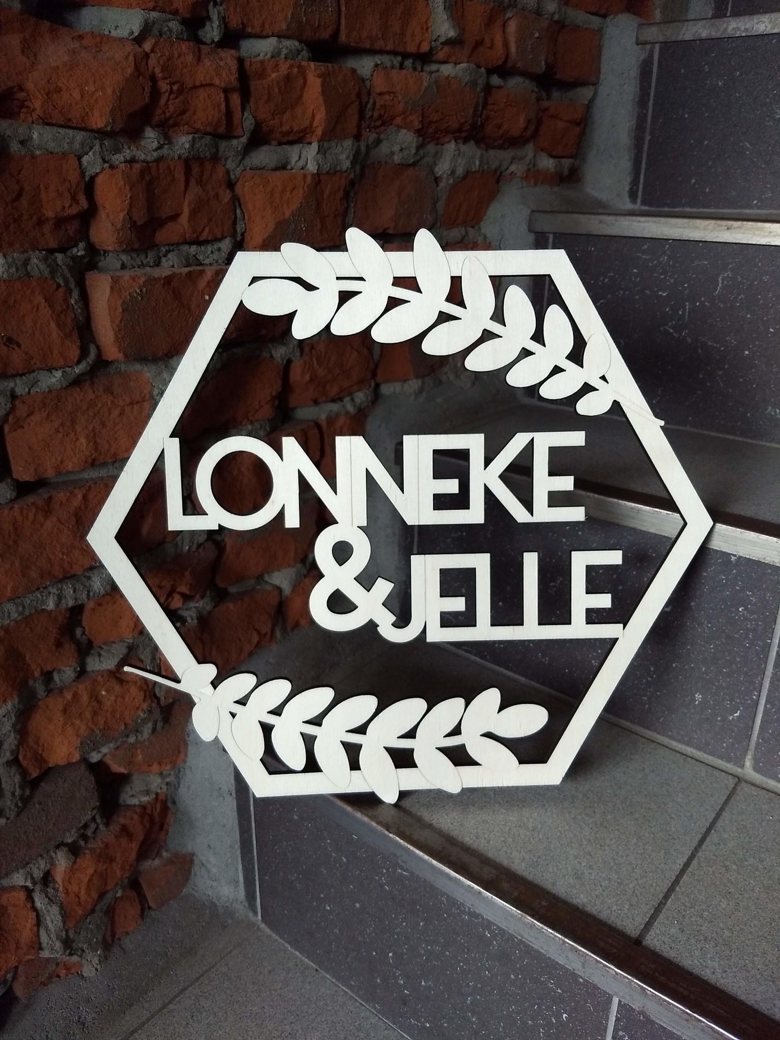 Huwelijkskrans hexagon met namen