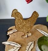 Houten kip met motief
