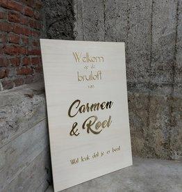 Welkomstbord Hout met Gouden letters