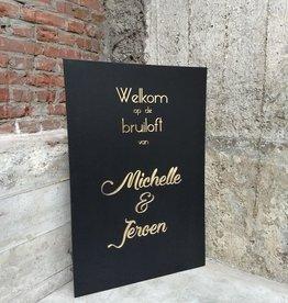 Welkomstbord Zwart met Goud
