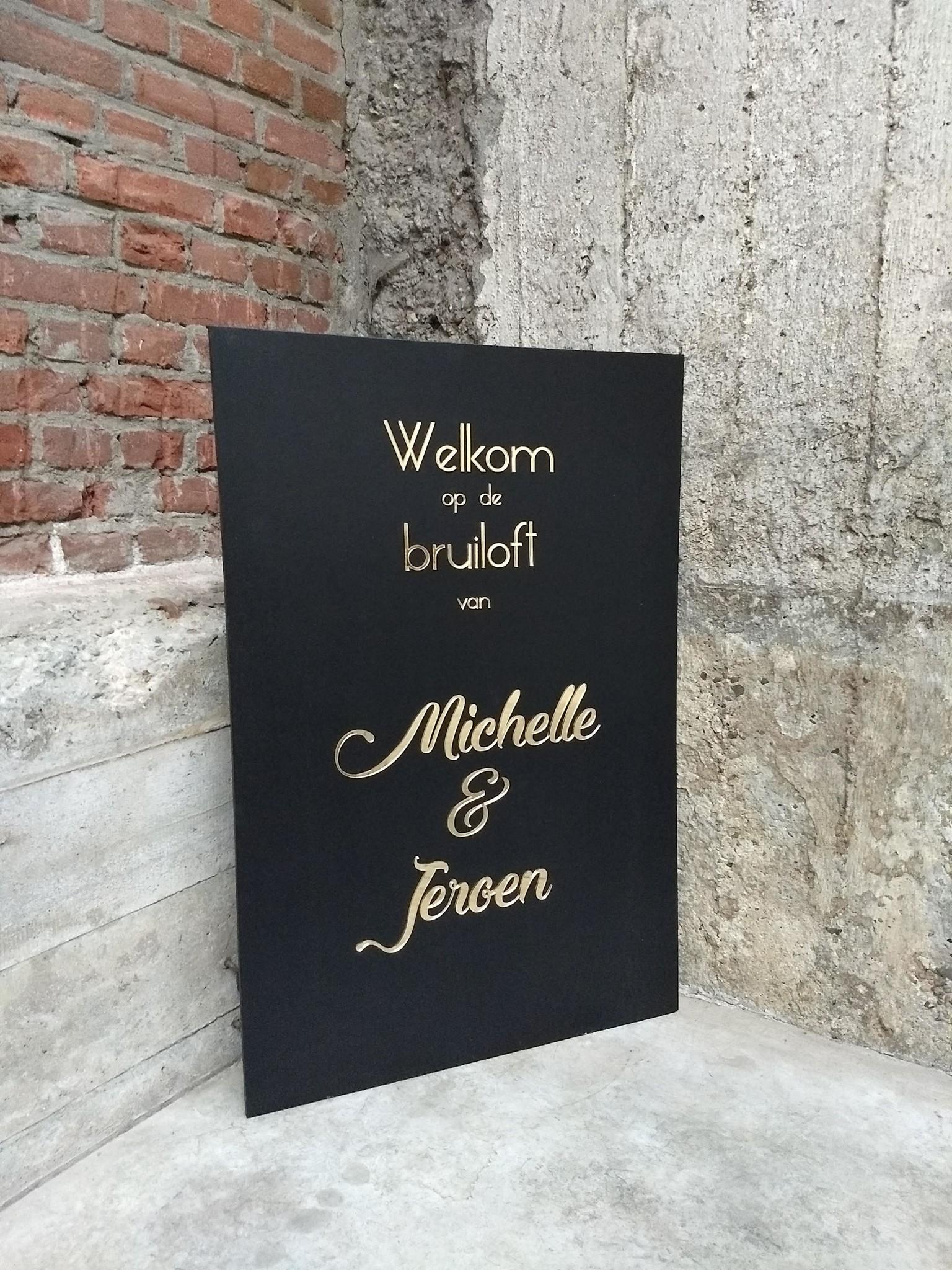 Bruiloftswelkomstbord