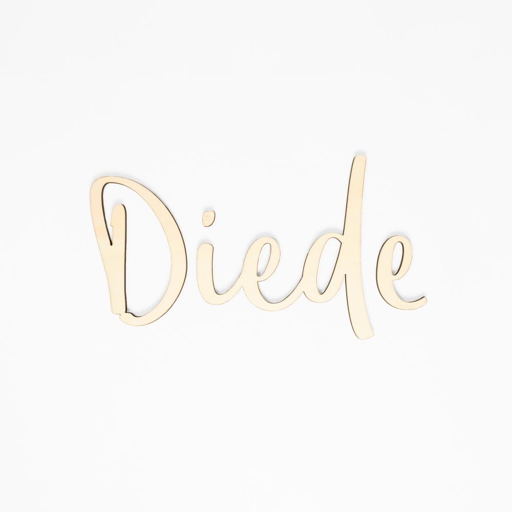 Houten tekst lettertype Diede