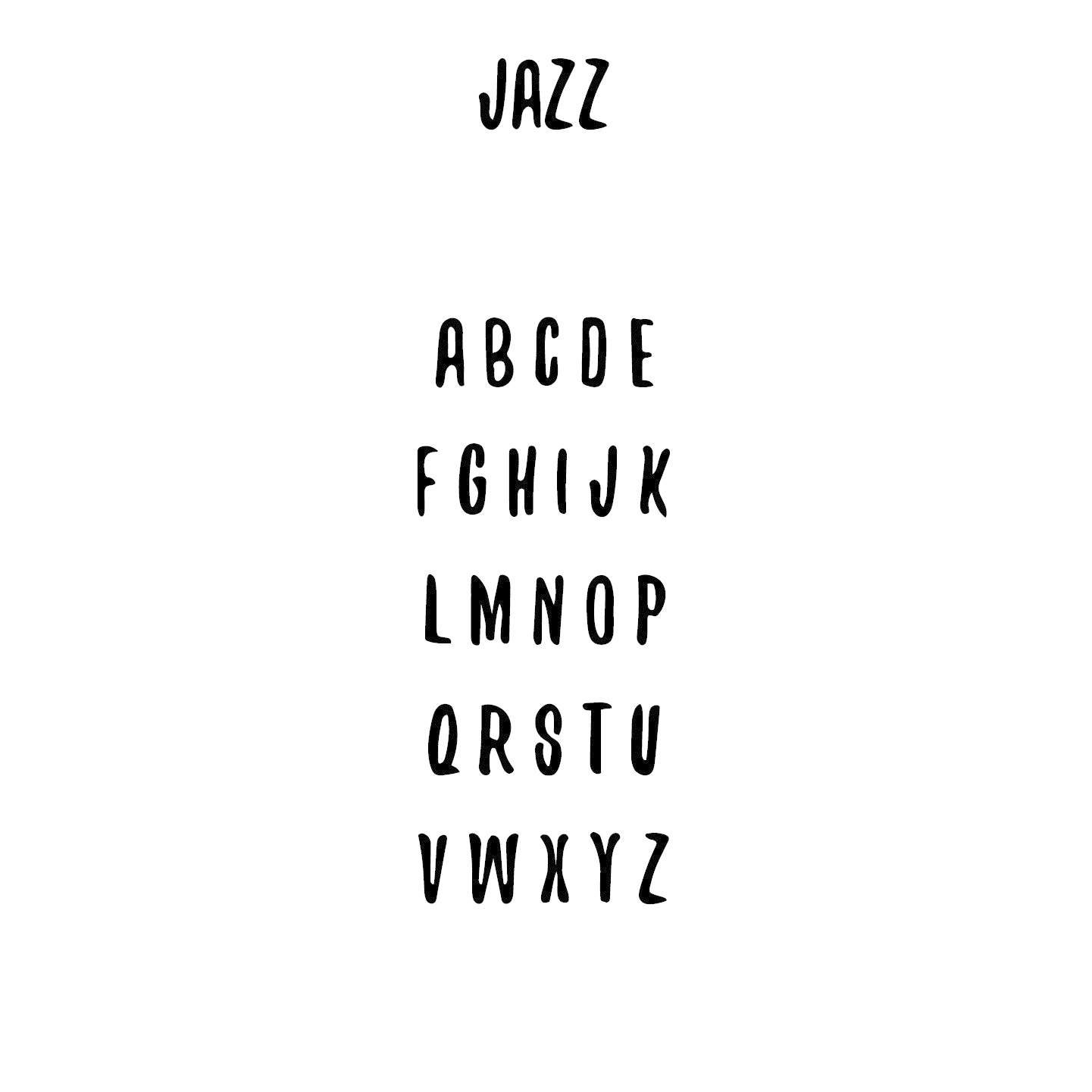 Houten tekst lettertype Jazz