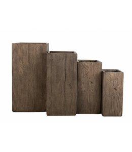 "Plantenbak Fiberclay vierkant ""Galant"" 23x23x50 cm Houtstructuur"