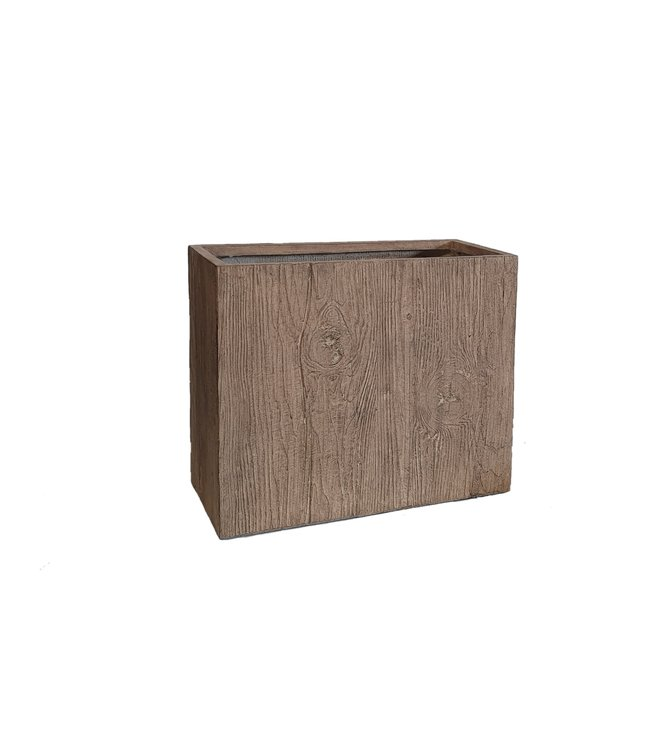Plantenbak Fiberclay rechthoek ''Ivara'' 60x30x50 cm Houtstructuur Light Wood