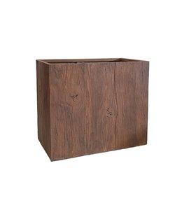 Plantenbak Fiberclay rechthoek ''Ivara'' 70x40x60 cm Houtstructuur Dark Wood