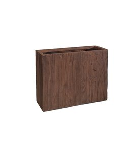 Plantenbak Fiberclay rechthoek ''Ivara'' 50x20x40 cm Houtstructuur Dark Wood