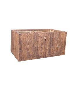 """Plantenbak Fiberclay rechthoek """"Falcon"""" 79x39x39 cm Houtstructuur Dark Wood"""