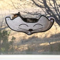 Raam bed voor de kat grijs
