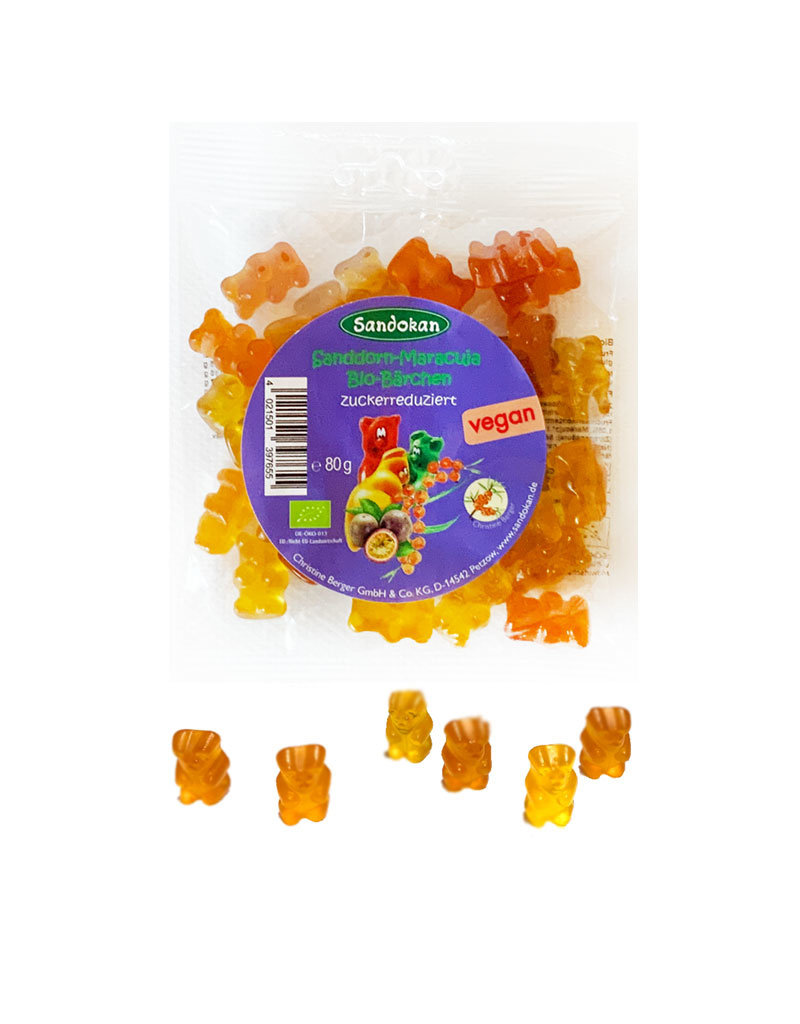 Vegane Bio-Sanddorn-Maracuja-Bärchen 80 g (Fruchtgummis)