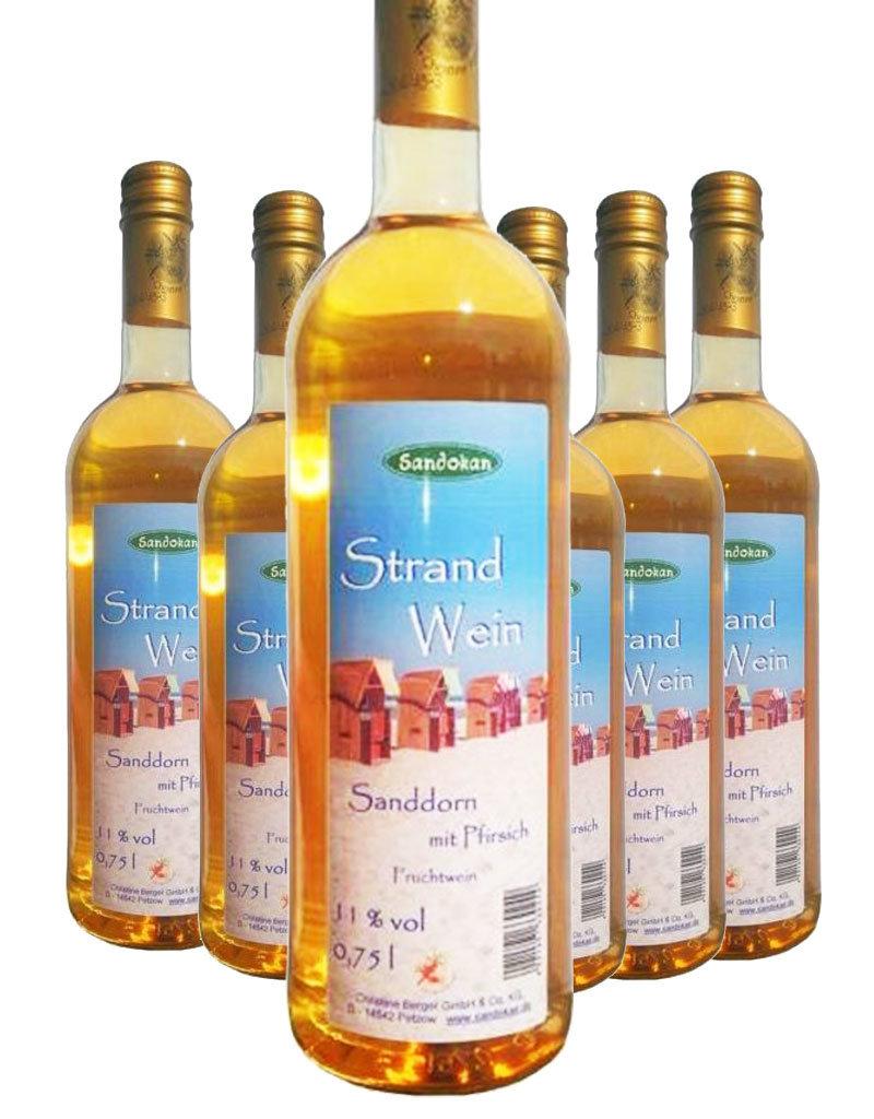 Sandokan 6 Flaschen Strandwein - Sanddornwein mit Pfirsich 0,75 l