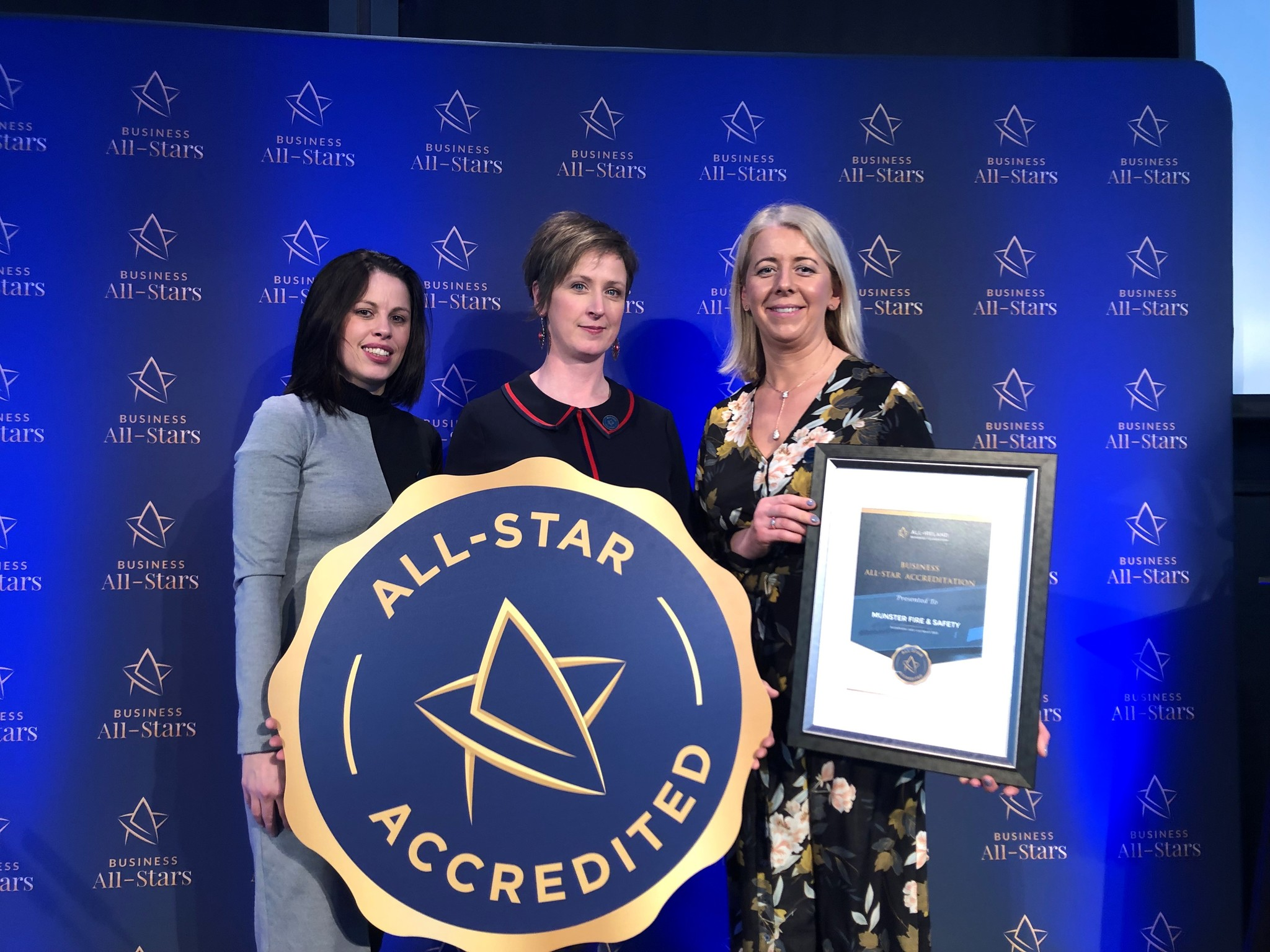 Jackie, Claire & Eileen receiving the All-Star Award