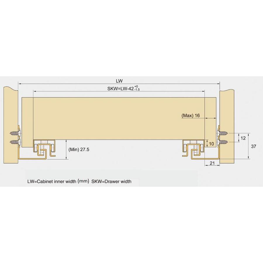 Push to Open ladegeleiders 450mm volledig uittrekbaar