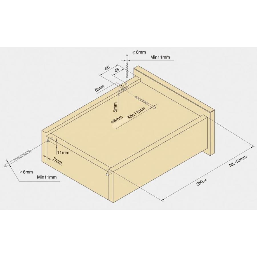 Push to Open ladegeleiders 500mm volledig uittrekbaar