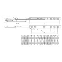 Volledig uittrekbare ladegeleiders 550mm standaard - 35KG