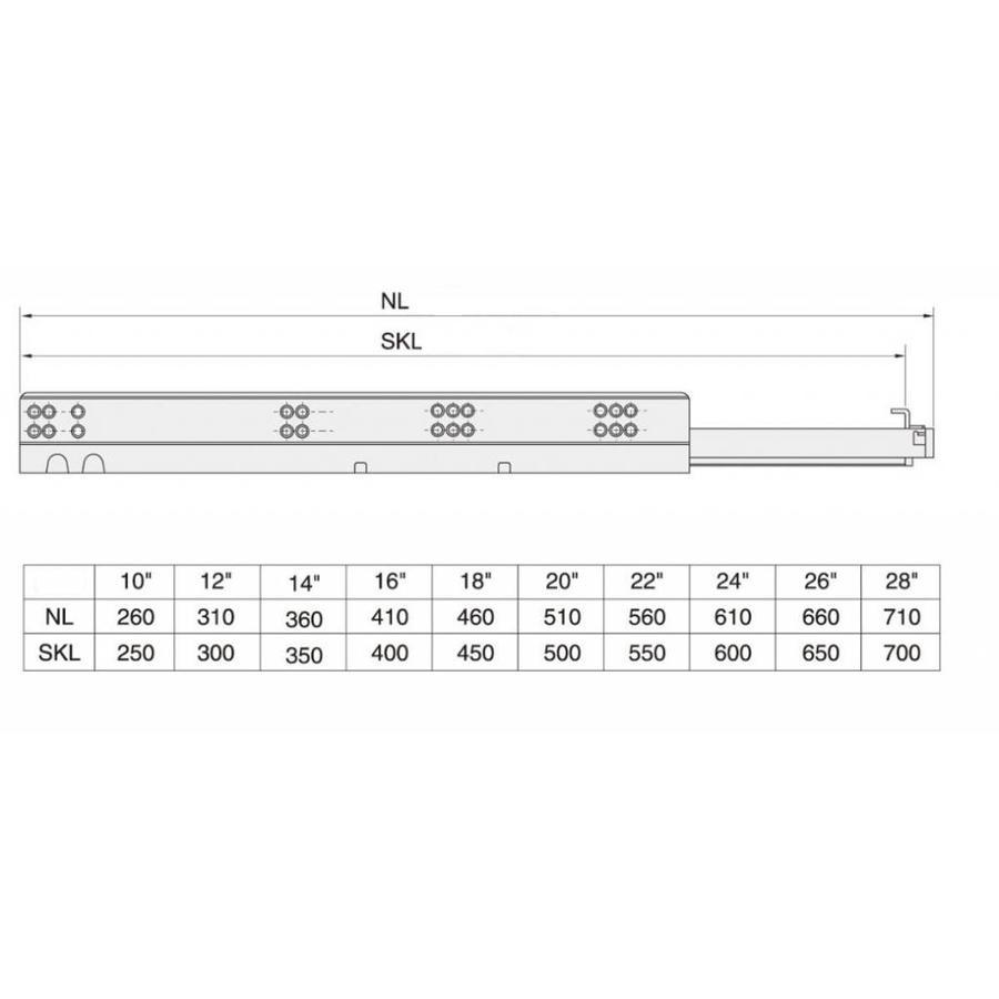 Softclose + Push to Open Combo Ladegeleiders 500mm