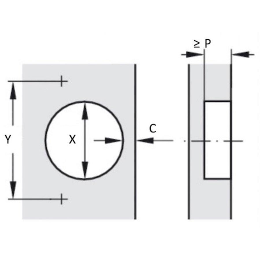 Standaard Scharnier Middenwand 110°