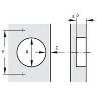 Push to Open Scharnier Binnenliggend 95°