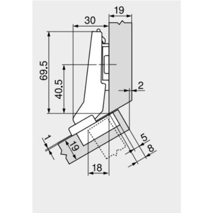 Softclose Hoekkastscharnier Binnenliggend 45°