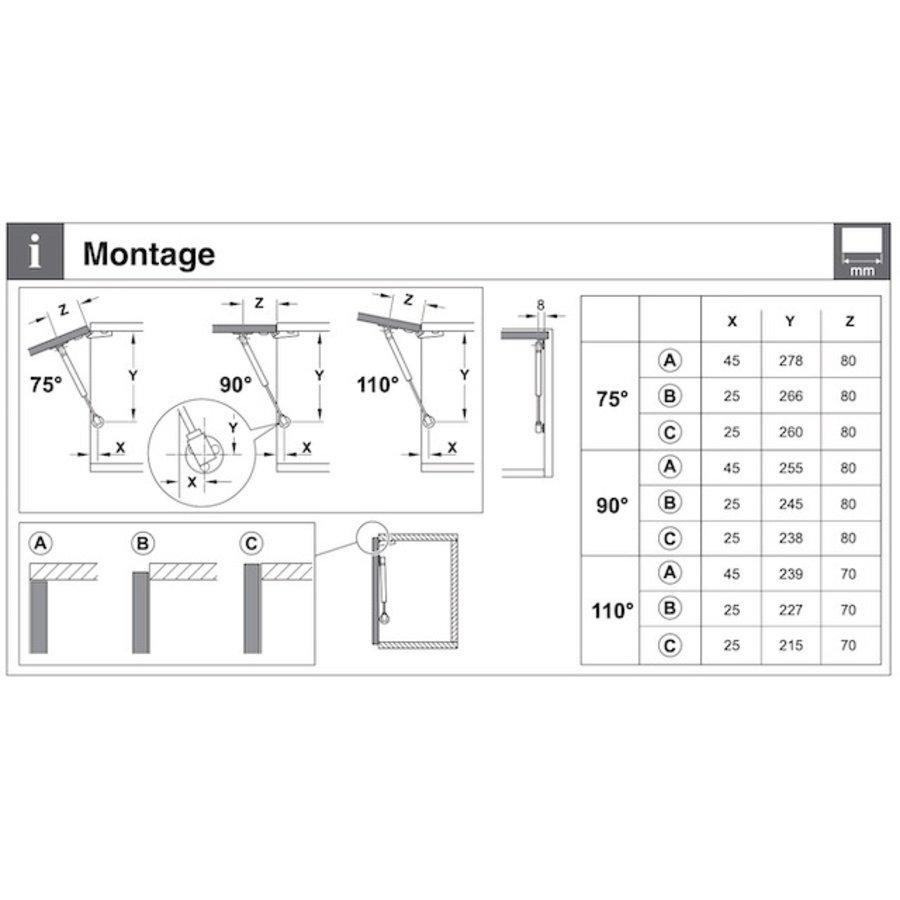 Gasdrukdemper – Gedempt openen – 80N Omlaag