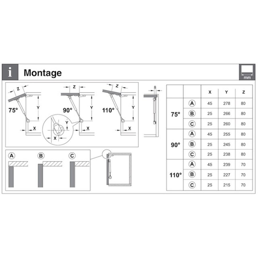 Gasdrukdemper – Gedempt openen – 150N Omlaag