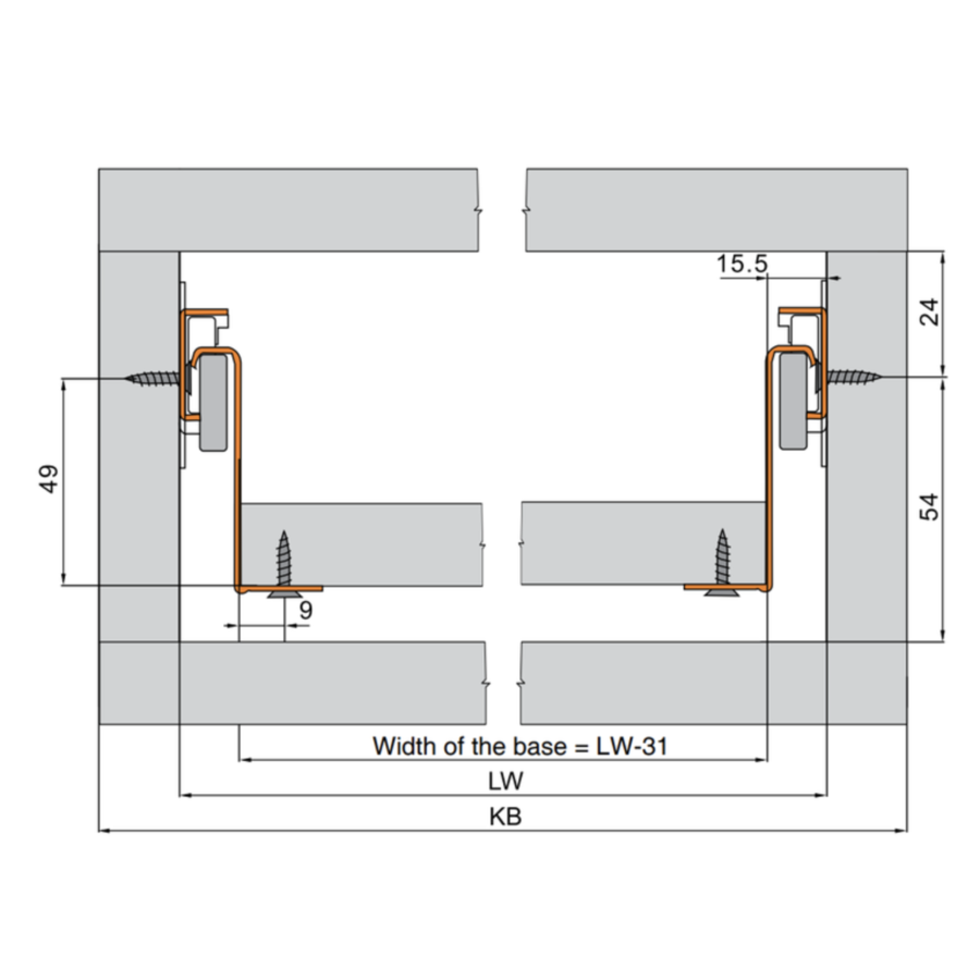 Zelfbouwlade BASIC  500mm - zelfbouwpakket 150mm