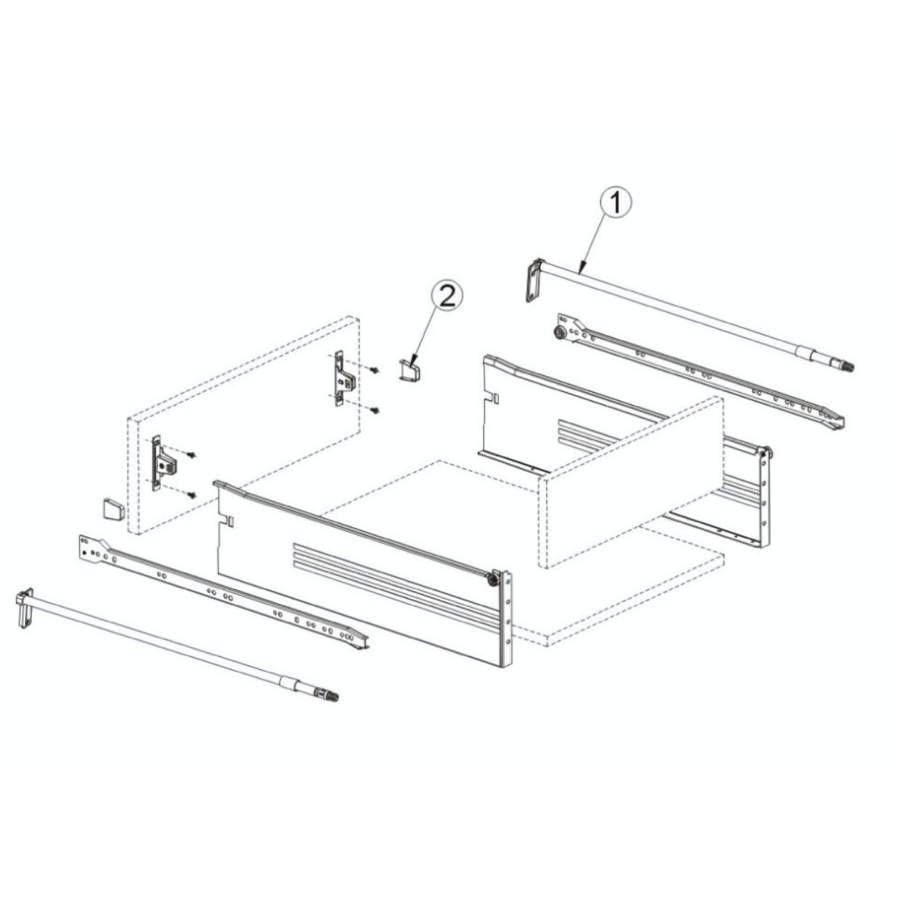 Zelfbouwlade BASIC - Zijstang Set 500mm
