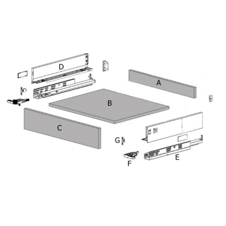 Zelfbouwlade GIULLIANO 400mm - Softclose zelfbouwpakket 80mm
