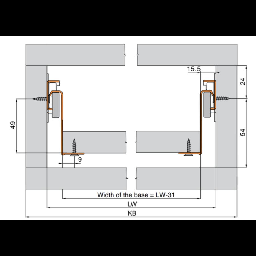 Zelfbouwlade BASIC  350mm - zelfbouwpakket 150mm