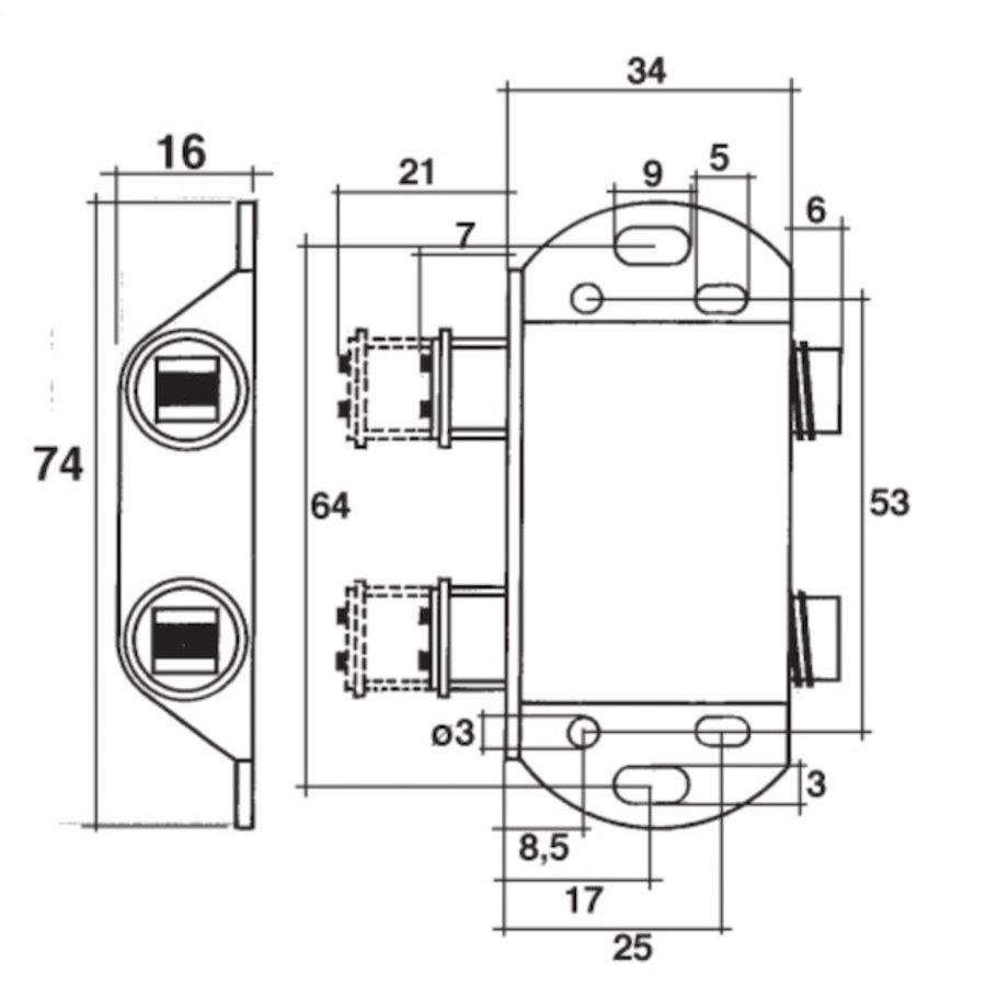 Dubbele druksnapper met magneet 13mm – Zwart