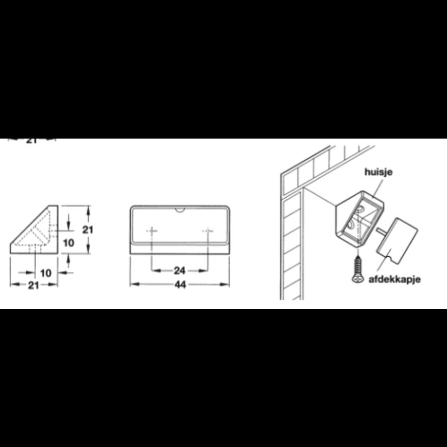 Hoekverbinder wit 44x21mm - GROOT