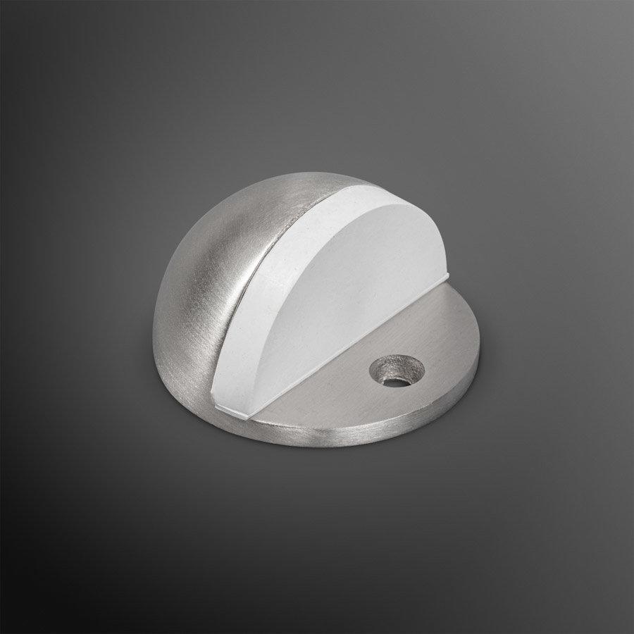 Deurstopper - RVS 45x25mm wit rubber