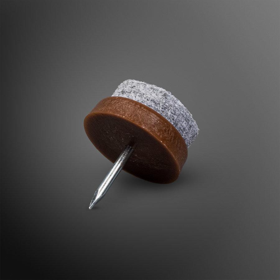 Viltglijder spijkerbaar Ø 22mm - bruin