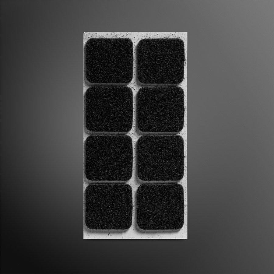 Viltglijder zelfklevend 25x25mm - zwart, 8 stuks