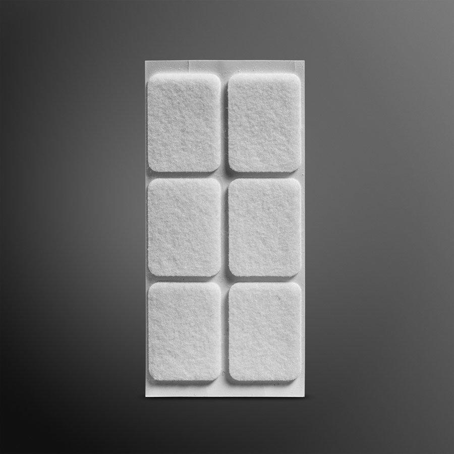 Viltglijder zelfklevend 25x35mm - wit, 6 stuks