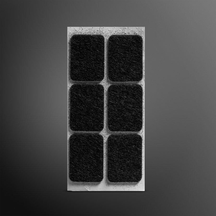 Viltglijder zelfklevend 25x35mm - zwart, 6 stuks
